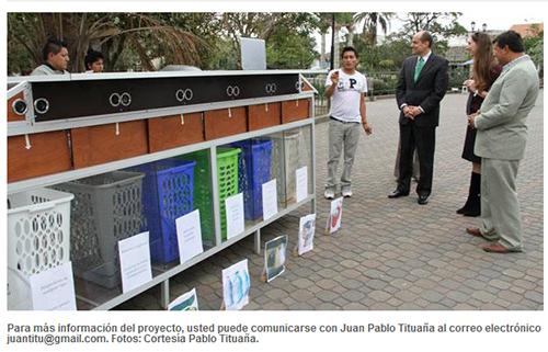 Diseñador kayambi creó basurero inteligente para ayudar al reciclaje